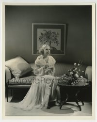 7h081 ANITA LOUISE 8x10.25 still 1936 on couch in satin striped silk negligee by Welbourne!