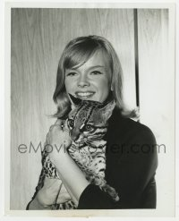 7h089 ANNE FRANCIS 7.25x9 TV still 1960s smiling close up as Honey West holding her ocelot Bruce!