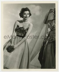 7h097 AVA GARDNER deluxe 8x10 still 1951 close up of the American Beauty standing by statue!