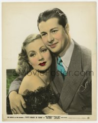 7h013 FIFTY ROADS TO TOWN color 8x10 still 1937 romantic c/u of young Don Ameche & sexy Ann Sothern!