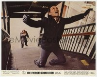 7h014 FRENCH CONNECTION color 8x10 still 1971 c/u of Gene Hackman pointing gun in climax of chase!
