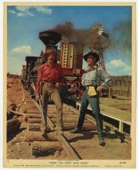 7h015 HOW THE WEST WAS WON color 8x10 still #15 1964 Henry Fonda & George Peppard on train tracks!