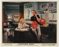 7h021 LOVING YOU color 8x10 still 1957 Lizabeth Scott & Wendell Corey in campaign headquarters!