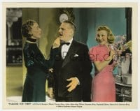 7h030 PARADISE FOR THREE color 8x10 still 1938 Frank Morgan between Edna May Oliver & Florence Rice!
