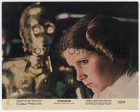 7h034 STAR WARS 8x10 mini LC 1977 great close up of Carrie Fisher as Princess Leia with C-3PO!