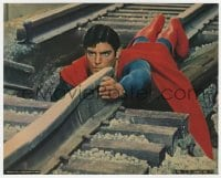 7h036 SUPERMAN color 8x10 still 1978 Christopher Reeve on tracks trying to save train from crashing!
