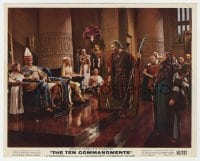 7h038 TEN COMMANDMENTS color 8x10 still 1956 Charlton Heston confronts Yul Brynner in throne room!