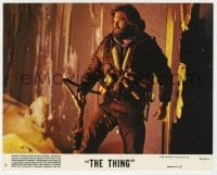 7h039 THING 8x10 mini LC #4 1982 John Carpenter, great close up of bearded Kurt Russell!