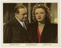7h042 WAR AGAINST MRS HADLEY color 8x10.25 still 1942 c/u of Edward Arnold staring at Jean Rogers!