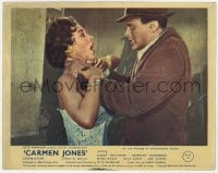 7h008 CARMEN JONES color English FOH LC 1954 crazed Harry Belafonte choking Dorothy Dandridge!