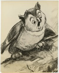 7h105 BAMBI 7.25x9 still 1942 Disney, wonderful pencil drawing of the wise & venerable owl!