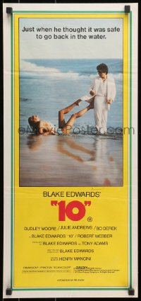 7j002 '10' Aust daybill 1979 Blake Edwards, image of Dudley Moore & sexy Bo Derek on the beach!
