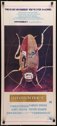 7j004 11 HARROWHOUSE Aust daybill 1973 Charles Grodin, Candice Bergen, wild art of cockroach!