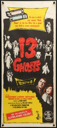 7j005 13 GHOSTS Aust daybill 1960 William Castle, spooky art, cool horror in ILLUSION-O!