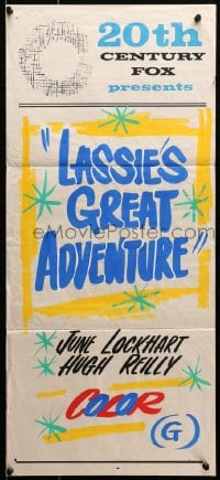 7j009 20TH CENTURY FOX Aust daybill 1960s advertising Lassies Great Adventure, hand painted!