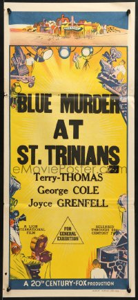 7j008 20TH CENTURY FOX Aust stock daybill 1950s film-making border art, Blue Murder at St Trinians!