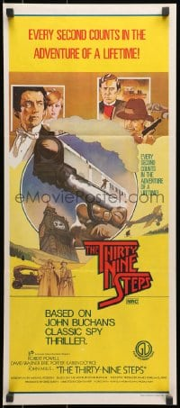 7j012 39 STEPS Aust daybill 1978 cool art of David Warner, Robert Powell, from John Buchanan novel!