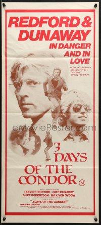 7j011 3 DAYS OF THE CONDOR Aust daybill 1975 CIA analyst Robert Redford & Faye Dunaway in danger!