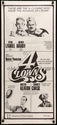 7j013 4 CLOWNS Aust daybill 1970 Stan Laurel & Oliver Hardy, Buster Keaton, Charley Chase!