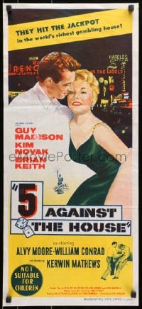 7j015 5 AGAINST THE HOUSE Aust daybill 1955 art of Kim Novak gambling in Reno Nevada!