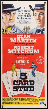 7j016 5 CARD STUD Aust daybill 1968 Dean Martin & Robert Mitchum, gunfight over poker cards!