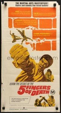 7j017 5 FINGERS OF DEATH Aust daybill 1973 martial arts action, sights & sounds like never before!