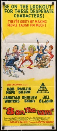 7j020 8 ON THE LAM Aust daybill 1967 Bob Hope, Phyllis Diller, Jill St. John, wacky Davis-like art of cast!