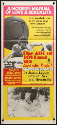 7j021 ABC OF LOVE & SEX: AUSTRALIA STYLE Aust daybill 1978 John D. Lamond, a manual of love & sex!
