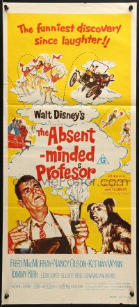7j022 ABSENT-MINDED PROFESSOR Aust daybill R1970s Walt Disney, Flubber, MacMurray in title role!