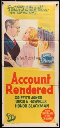 7j023 ACCOUNT RENDERED Aust daybill 1957 Griffith Jones, Ursula Howells, cool English crime art!
