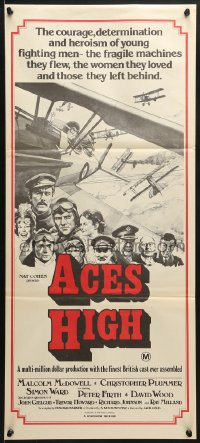 7j024 ACES HIGH Aust daybill 1976 Malcolm McDowell, really cool WWI airplane dogfight art!