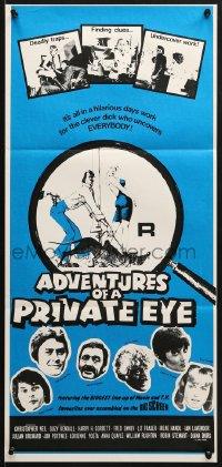 7j028 ADVENTURES OF A PRIVATE EYE Aust daybill 1977 Christopher Neil, Suzy Kendall, wacky art!