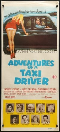 7j029 ADVENTURES OF A TAXI DRIVER Aust daybill 1976 Barry Evans, Judy Geeson, sexy wacky artwork!