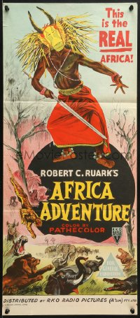 7j030 AFRICA ADVENTURE Aust daybill 1954 this is the REAL Africa, living jungle, wild native art!
