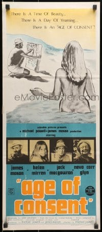 7j031 AGE OF CONSENT Aust daybill 1969 Powell directed, Mason, young Helen Mirren, sexy art!