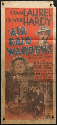 7j032 AIR RAID WARDENS Aust daybill 1943 different images of Stan Laurel & Oliver Hardy, WWII!