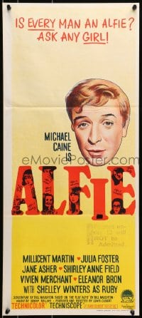 7j034 ALFIE Aust daybill 1966 British cad Michael Caine loves them and leaves them, ask any girl!