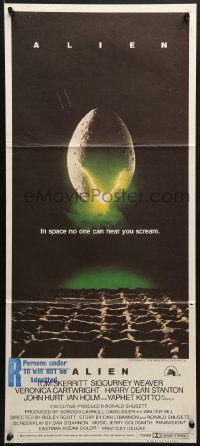7j037 ALIEN Aust daybill 1979 Ridley Scott outer space sci-fi monster classic, cool egg image!