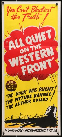 7j040 ALL QUIET ON THE WESTERN FRONT Aust daybill R1948 Lew Ayres, you can't blackout the Truth!