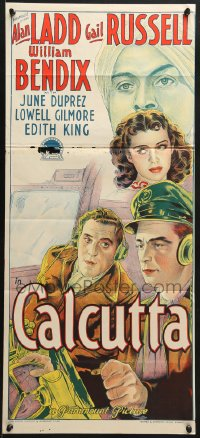 7j001 CALCUTTA Aust daybill 1946 Richardson Studio art of Alan Ladd & sexy Gail Russell in India!