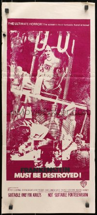 7j370 FRANKENSTEIN MUST BE DESTROYED Aust daybill 1969 Peter Cushing second printing