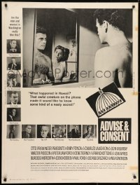 7k017 ADVISE & CONSENT 30x40 1962 Otto Preminger, Senator Don Murray's wife begins to realize!