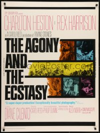 7k019 AGONY & THE ECSTASY 30x40 1965 great images of Charlton Heston & Rex Harrison!