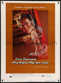 7k021 ANY WHICH WAY YOU CAN 30x40 1980 cool artwork of Clint Eastwood & Clyde by Bob Peak!