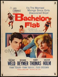 7k023 BACHELOR FLAT 30x40 1962 Tuesday Weld & Richard Beymer kiss close up, a wall to wall wow!