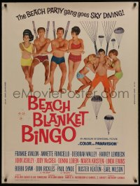 7k025 BEACH BLANKET BINGO 30x40 1965 Frankie Avalon & Annette Funicello go sky diving!
