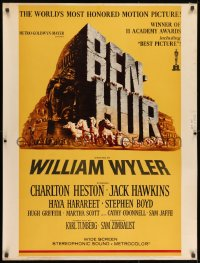 7k026 BEN-HUR 30x40 R1969 Charlton Heston, William Wyler classic religious epic, chariot art!