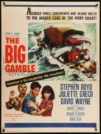 7k027 BIG GAMBLE 30x40 1961 Stephen Boyd goes across three continents & 30,000 miles!