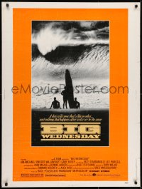 7k028 BIG WEDNESDAY 30x40 1978 John Milius classic surfing movie, silhouette of surfers on beach!