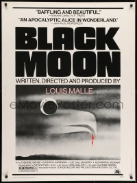 7k029 BLACK MOON 30x40 1975 Louis Malle, Therese Giehse, cool surreal artwork!